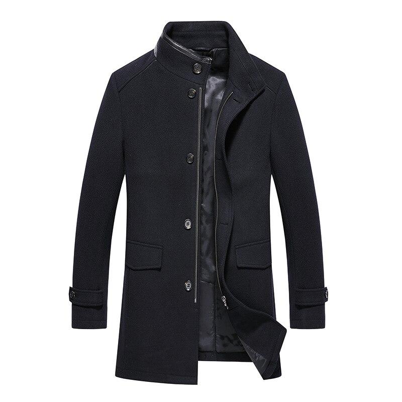 Autumn Mens Wool Blend Coat Long Thick Warm Woolen Stand Collar Waterproof Dark Blue Jacket Plus Size Casual Winter Overcoat Men