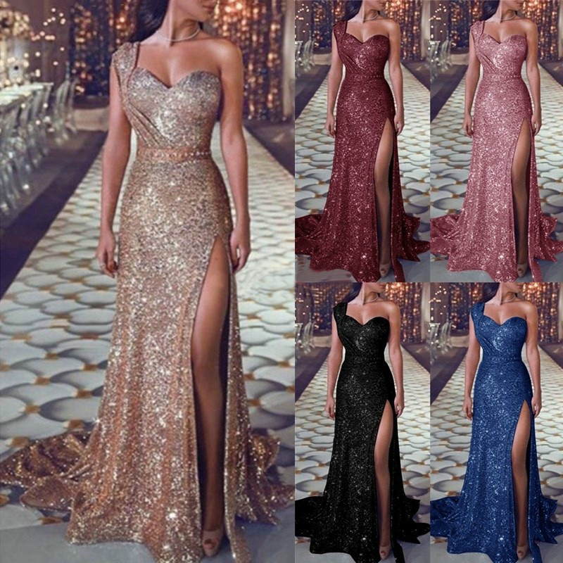 Hot Selling Europe And America Large Size Dress Sexy One Shoulder Sleeveless Bronze Formal Dress Slit Long Skirts