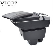 Vtear For Skoda Rapid accessories armrest box leather arm rest usb storage car styling decoration center console automobile 2014