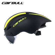 New CAIRBULL Aero TT Cycling Helmet Racing Road Bike Safe Helmet With Magnetic Goggles Pneumatic Bicycle Helmet Casco Con Gafas new cycling helmet mtb road bike helmet sun visor bicycle helmet aero helmet with goggles