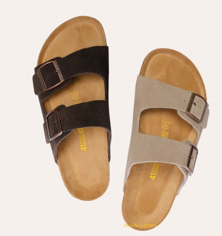 NEW youpin Aishoes men summer Fashion Wild Cool Cork sandals  Soft cowhide Beach Ssandals Casual non slip cork slippers-in Shoe Covers from Home & Garden    1
