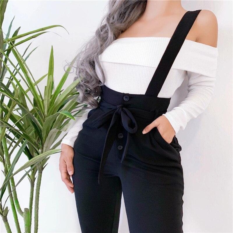 Women Streetwear Long Pants Bandage Design Button Pockets Decor High Waist Pencil Pants Lady Slim Hips Shoulder Straps Trousers