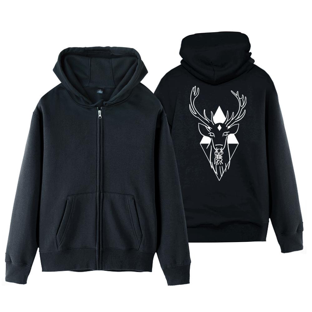 Girl Women jacket coat outerwear deer jacket Buck Deer Horns Antlers women hooded cardigan winter zip jacket Geometric Diamo