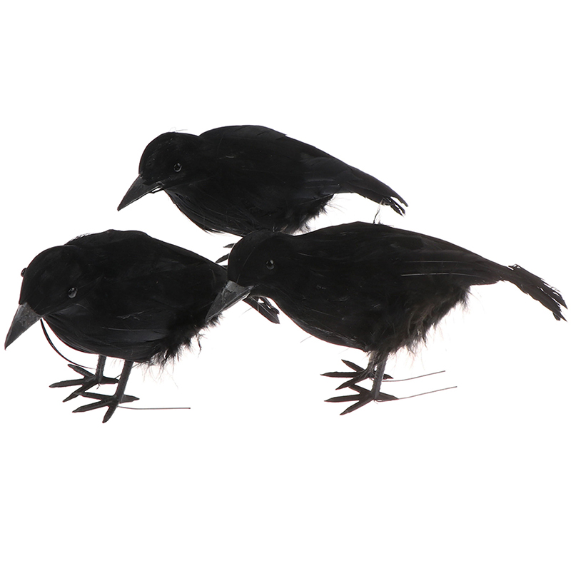 Realistic Lifelike Simulation Black Feathered Halloween Raven Crow Prop For Haunted House Halloween Bird Toy