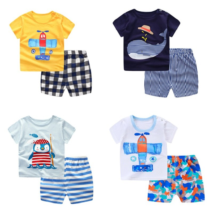 Baby Boys Girls Short Sleeve Cartoon Tops Shirt Pants Outfits Set Casual Outfits Set