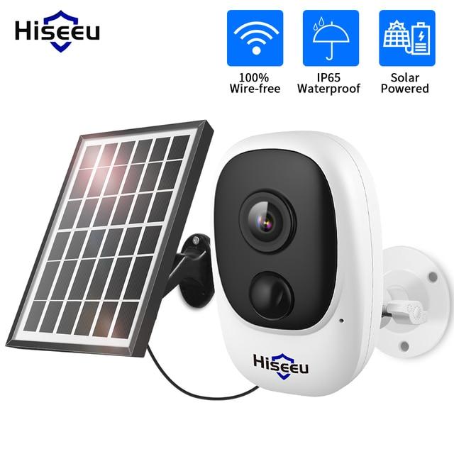 Hiseeu 1080P اللاسلكية بطارية قابلة للشحن كاميرا IP مع الطاقة الشمسية في الهواء الطلق مانعة لتسرب الماء كاميرا مراقبة للمنزل واي فاي مراقبة الطفل PIR