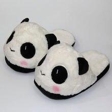 Panda bonito dos desenhos animados chinelos de pelúcia grandes olhos animais bonecas slides inverno quente indoor piso brinquedos sapatos para unisex homem mulher