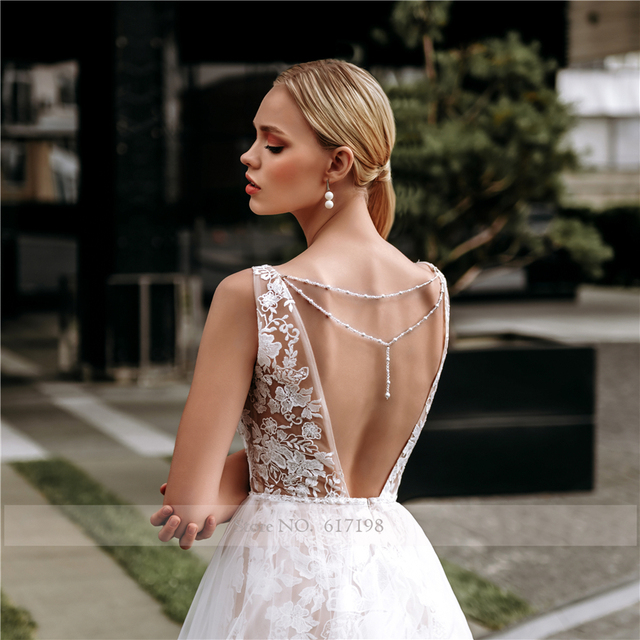Spaghetti Straps Dark Champagne Lace and Tulle Sheath Wedding Dress with Crystals Open Back Long Elegant Bridal Dress 2
