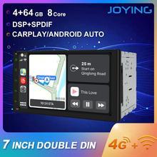 Joying duplo 2 din rádio do carro octa núcleo 4 gb + 64 gb android 8.1 gps navegação fita cassete jogador suporte 4g sim cartão dsp carplay