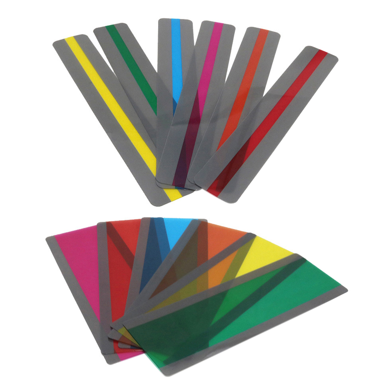 12 Pieces Guided Reading Highlight Strips with 2 Sizes Colored Overlay Highlight Bookmarks for Teacher Supply Guided