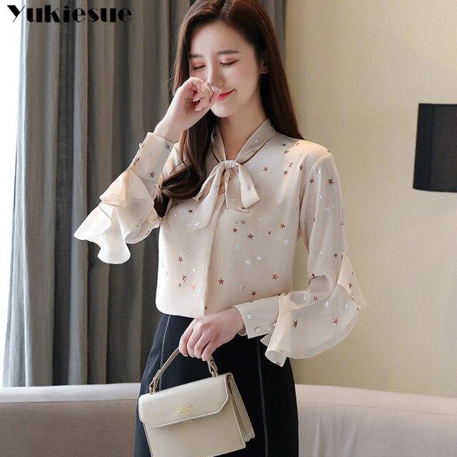 Plus size womens tops and blouses Summer women blouses 2020 white blouse long sleeve star print chiffon blouse women shirt top 5