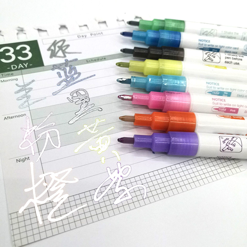 Ambility Marker Pen 8 Colors//Set Gift Card Writing Drawing Pens Double Line Outline Pen Stationery New Double Line Art Marker Pen