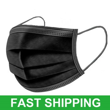 10-200pcs Black Disposable Mouth Mask 3-Layer Non-woven Face Mask Filter Cloth Dust Protective Mask Earloops Masks PM2.5 Masque
