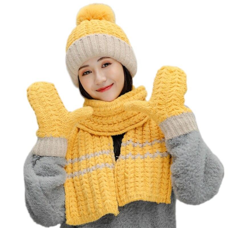 Для женщин зима комплект из 3 предметов вязаная шапка с помпоном