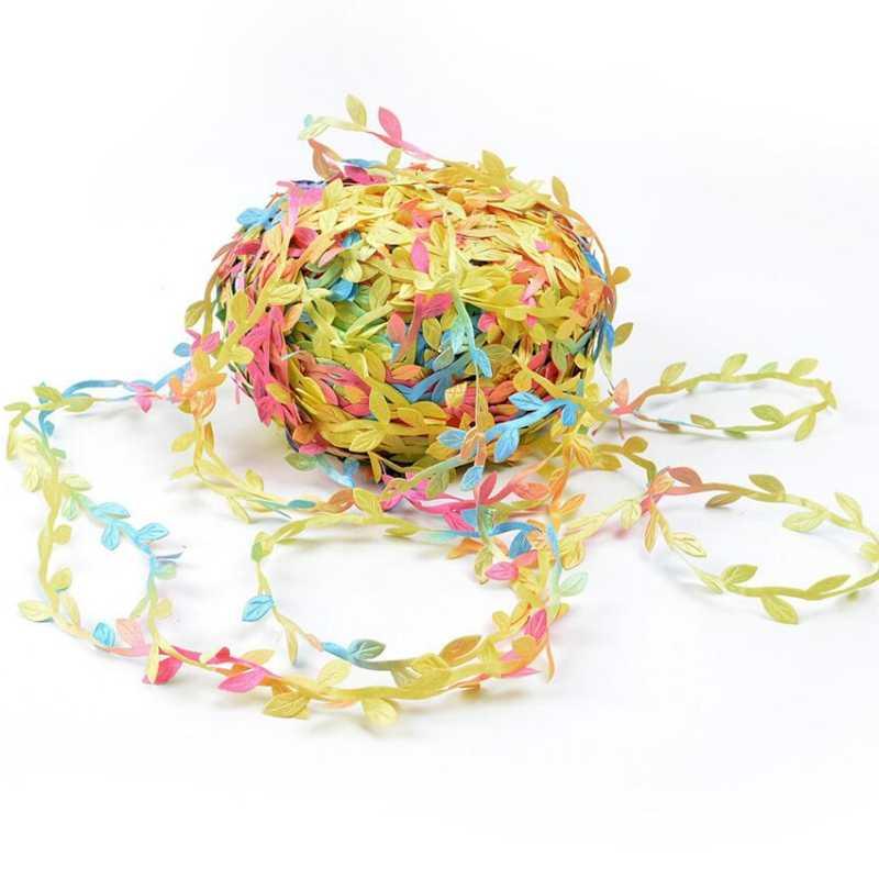 5M Lụa Hình Lá Handmake Nhân Tạo Xanh Lá DIY Tiệc Cưới Hộp Trang Trí Tán Lá Handmade Thủ Công Vòng Hoa