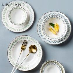 KINGLANG nowy liść obręczy złota ceramika płytki talerz hurtownia porcelany ryż salaterka deser ciasto danie