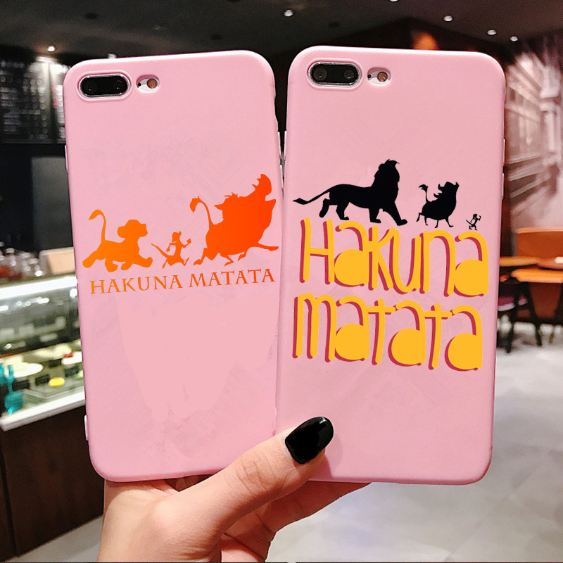 Nala simba timon Pink Soft TPU Cover For iPhone Xs 6 6s X 7 8 Plus XR XS MAX Hakuna Matata Lion King New Candy Silicone Phone Case For iPhone 11 Pro Max 2019 5.8 6.1 6.5 inch Fundas Coque