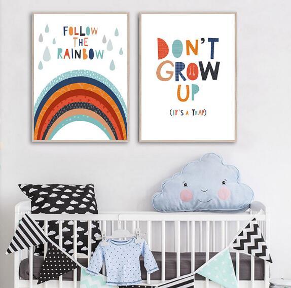 Boys Rule Rainbow Nursery Child Poster Canvas Wall Art Print Baby Room Decor