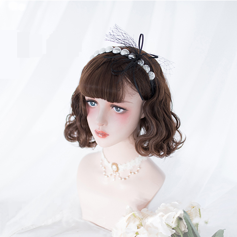 Japanese Style Daily Lolita Cosplay Wigs High-temperature Fiber Synthetic Hair Gray Pink Brown Short Curly Hair+ Free Wig Net
