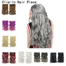 Synthetic Hair Clips 2020 Hair Piece Extension Straight Clip In Black Brown Blonde Green Purple Pink Golden Gray Red