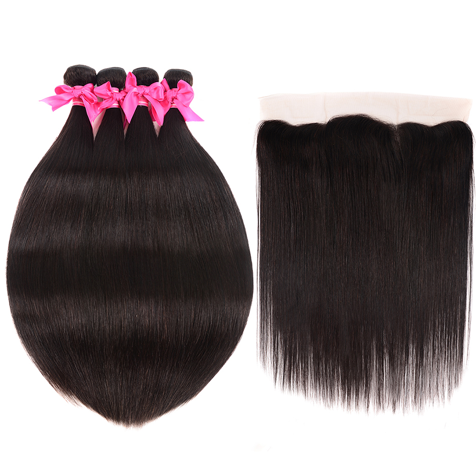 Shuangya Brazilian Straight Hair 13 4 Lace Frontal With Bundles Human Hair 3 Bundles With Closure