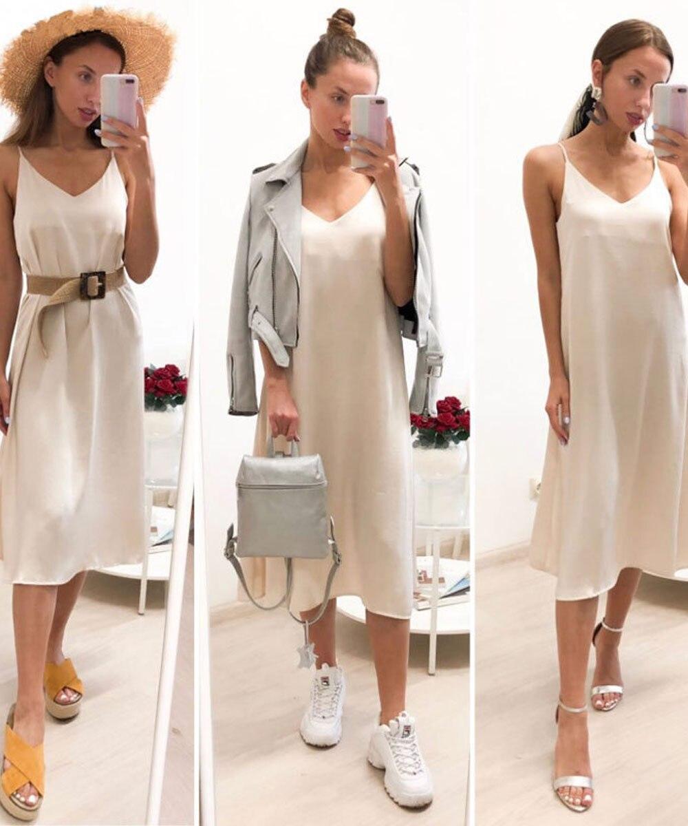 Summer Dress 2020 Spaghetti Strap Solid Sleeveless Maxi Slip Dresses Elegant Vintage Satin Midi Dresses For Women