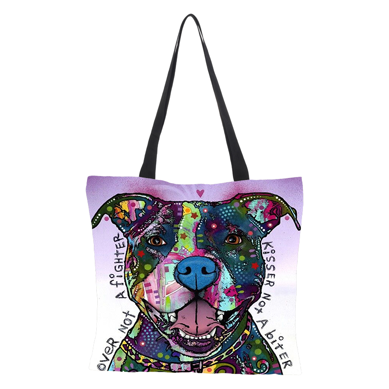 Oil Painting Colour Dog  Print Women Tote Bags Linen Reusable Shopping Bag Shoulder Bags For Women Sac A Main Ladies Handbags