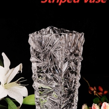 European style glass vase transparent hydroponic rich bamboo lily striped vase living room flower arrangement ornaments