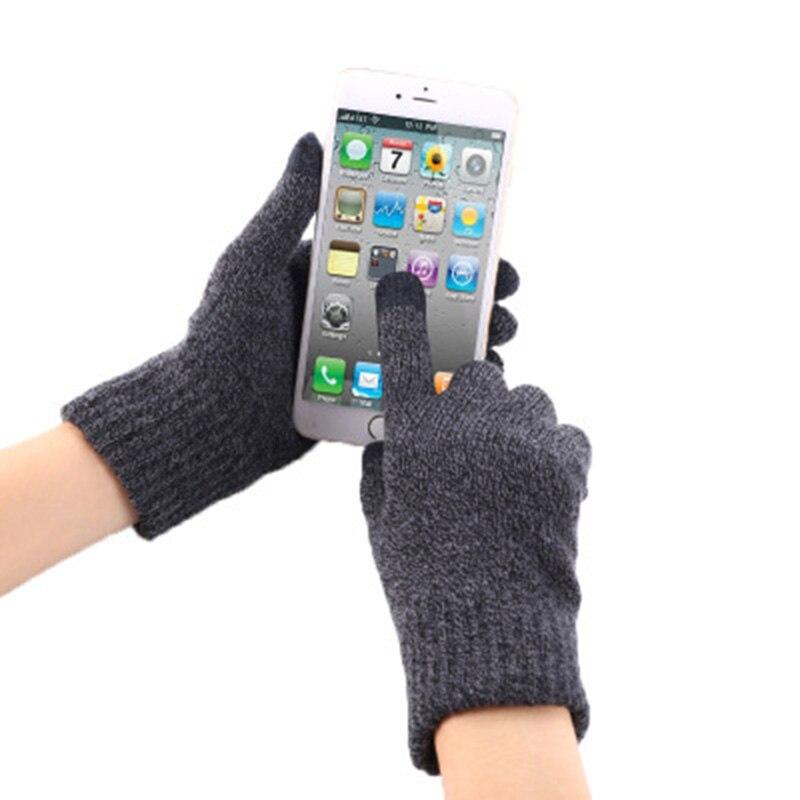 Simple Knit Touch Screen Gloves Men's Winter Warm Wool Plus Velvet Slip Bike Female Outdoor Full Finger Gloves G57