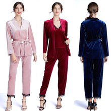 New Three-piece Pajamas Women Winter Long-sleeved Home Wear Sexy Sling Pants Comfortable for YN1367