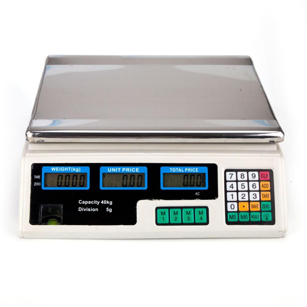 40 кг/5 г цифровые весы цена вычисления баланс для овощей США вилка серебро и белый