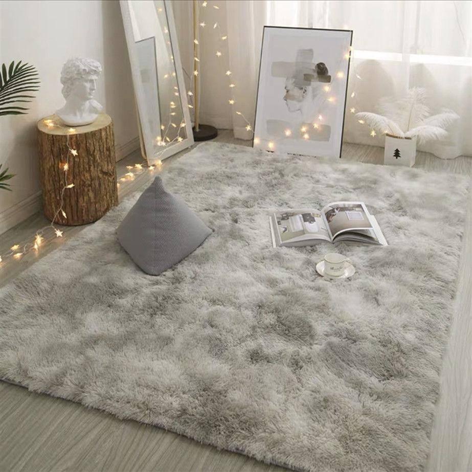 Gray Carpet Dyed Soft Plush Carpets For Living Room Bedroom Non-slip Mats