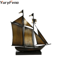 YuryFvna Metal Heavy Vintage Ship Model Hand Made Sailing Boat Figurine Sailboat Home Office Decoration Gift Decorative Crafts