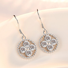 Silver Color Hoop Earrings Simple Round Cubic Zirconia Crystal for Women Fashion Personalized Ear Jewelry Gift