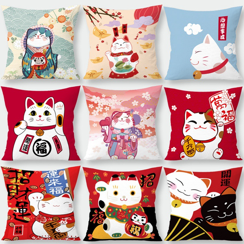 Silstar Tex Lucky Cat Decorative Pillowcase Bring Good Luck Cushion Cover For Home Bedroom Living Room