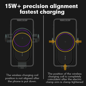 Image 4 - 15W Qi Wireless Car Charger Air Vent Phone Holder for iPhone Samsung Huawei Fast Charging Wireless Charger Auto Sensor Clamping