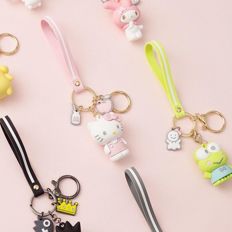 JOYA 2021 Women Key Chain New Epoxy Cartoon KT Series Car key ring Cute Doll Bag Pendant Stainless Steel keychain Gift Wholesale 2