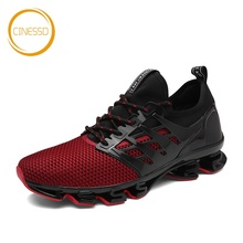 CINESSD New Blade Sole Running Shoes Cushioning Breathable Air Mesh Jogging Sneakers Men Outdoor Walking Anti-Skid Sports Shoes li ning men ln arc technology cushioning running shoes breathable sneakers anti skid lining autumn light sports shoes arhm051