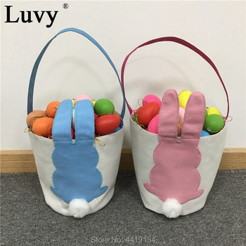Luvy 10pcs/lot Easter Bunny Bucket Cute Bunny Easter Egg Hunts Bags Canvas Personalized Easter Tote Buckets Easter Decor.