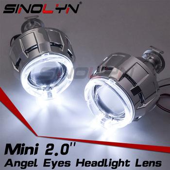 Sinolyn reflektory anielskie oczy soczewki H4 H7 Bi-soczewki ksenonowe 2 0 HID projektor LED halo dla akcesoria samochodowe modernizacji skorzystaj z H1 ksenonowe tanie i dobre opinie Obiektyw CN (pochodzenie) H4 H7 9005 9006 Car Light Source Xenon H1 Xenon Bi-Xenon Light All Car Has Enough Headlight Space