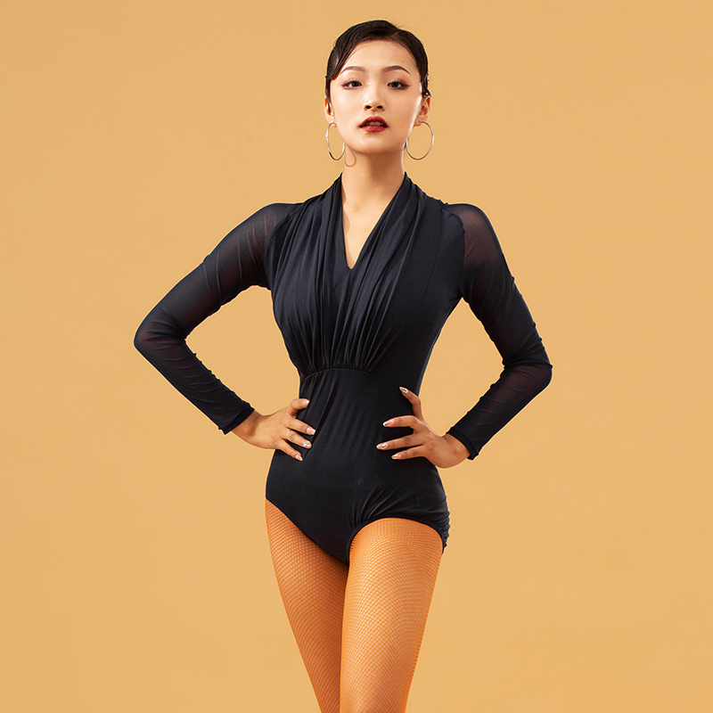 Fashion Latin Dance Tops Female Adult Sexy Net Yarn V-Neck Leotards Practice Clothes Shirt Ballroom Cha Cha Dancing Wear DL4569