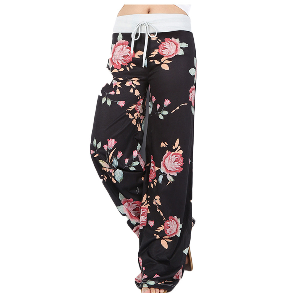 Female   Pants   Print   Wide     Leg     Pants   Woman Spring Autumn Casual Loose Drawing Waist Long