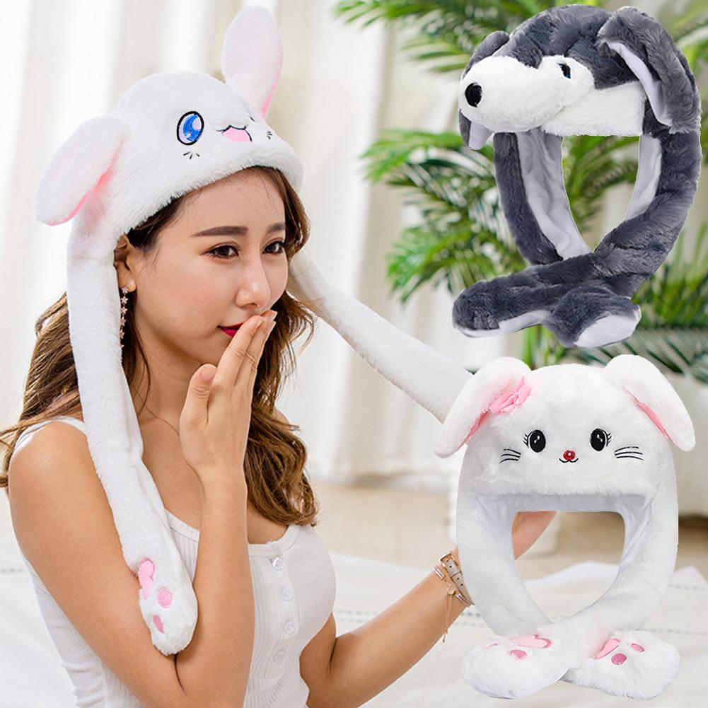 Newly Cute Bunny Plush Hat Funny Playtoy Ear Up Down Rabbit Gift Toy For Kids Girls Girlfriend Fashion Moving Hat Rabbit Ears