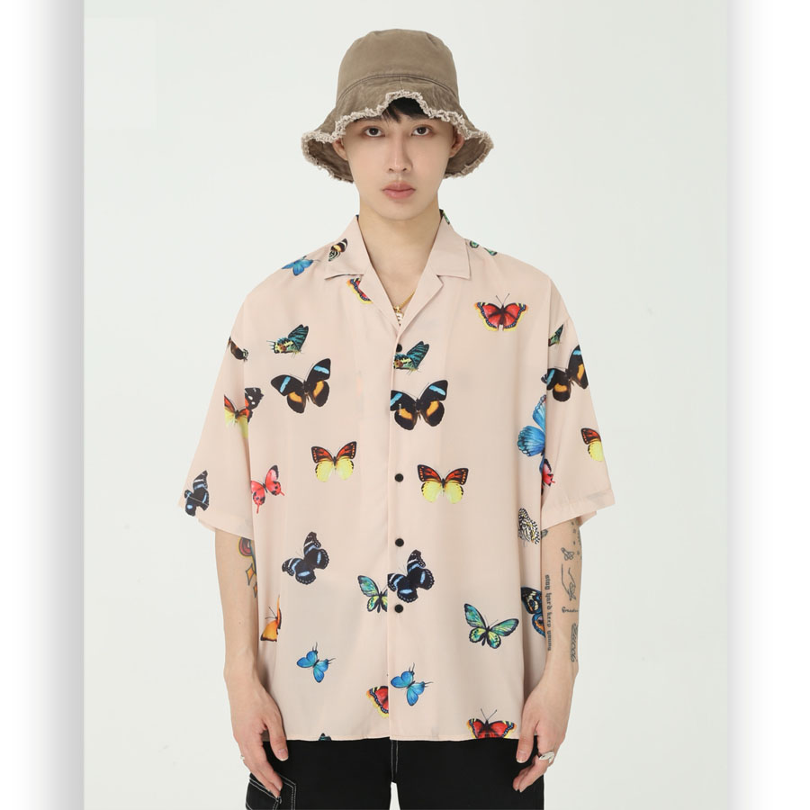 Men Summer New Loose Butterfly Print Casual Short Sleeve Shirt Men Streetwear Hip Hop Vintage Beach Shirt