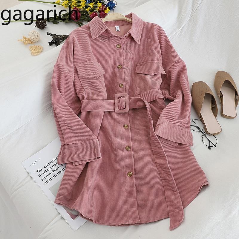 Gagarich Women Trench 2019 New Corduroy Full Turn-down Collar Pockets Adjustable Waist Single Breasted Slim Autumn Outwear Coat
