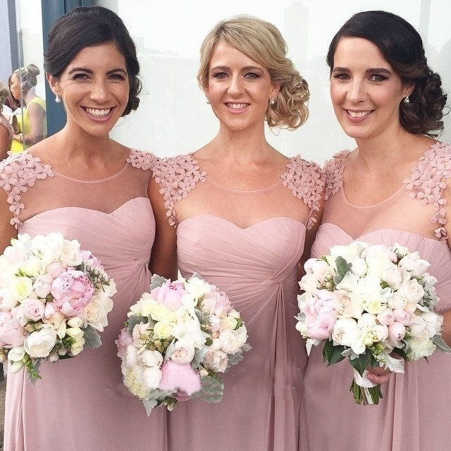 Beautiful Appliques Cap Sleeves Sexy Nude Back Pink Bridesmaid Dress 2015 Chiffon Floor Length Formal Gowns For Wedding
