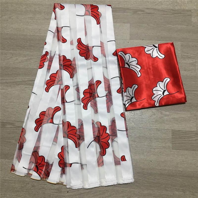 Африканская восковая органза и атласный шелк воск Анкара 2020 Атласная Ткань 6 ярдов хлопчатобумажная ткань для платья! P10728