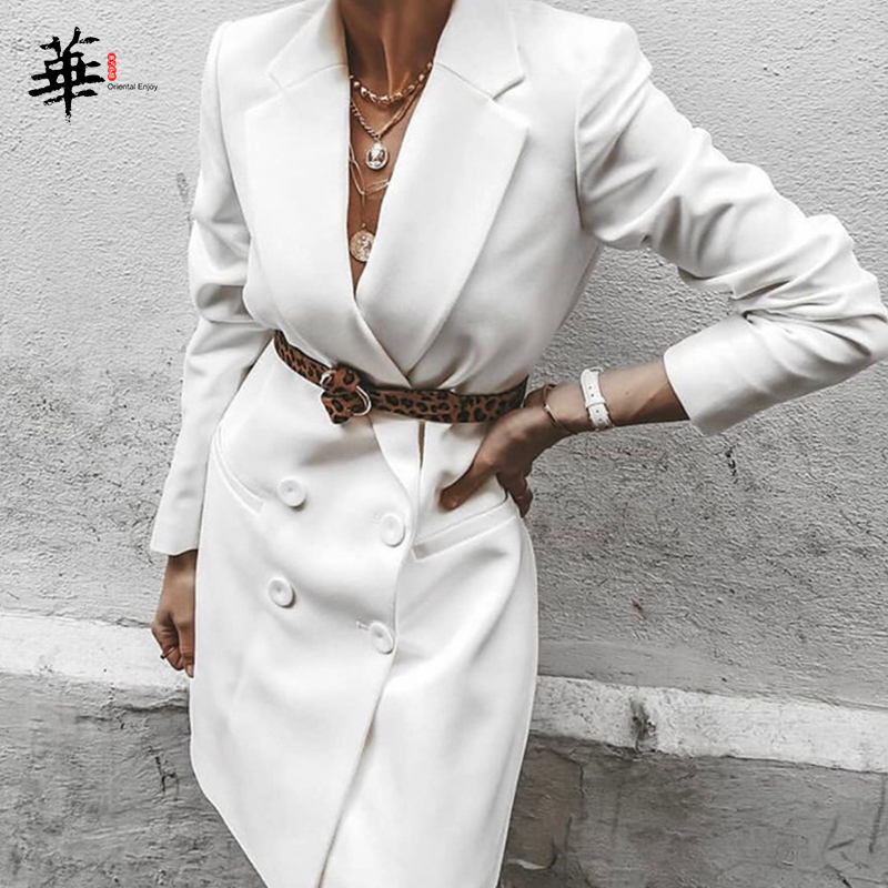 Autumn Winter Suit Blazer Women 2019 New Casual Double Breasted Pocket Women Long Jackets Elegant Long Sleeve Blazer Outerwear
