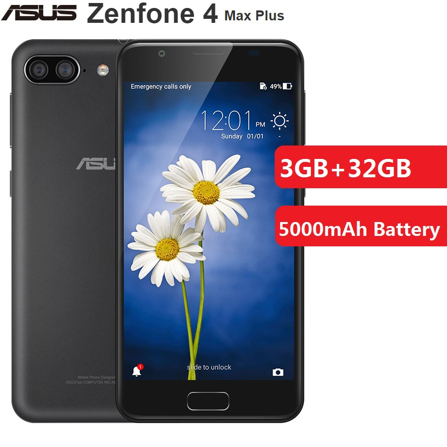 Распродажа, Смартфон ASUS Zenfone 4 Max Plus, 4G, 5,5 дюймов, Android 7,0, Восьмиядерный процессор MTK6750, 3 Гб + 32 ГБ, 5000 мАч, мобильный телефон, CN Plug