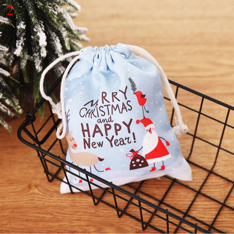 2019 New Year Gifts Christmas Candy Bag Santa Claus Drawstring Shopping Bag Women Men Kids Vintage Canvas Fresh Bag Tote Pouch